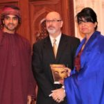 His Highness Sayyid Faisal bin Turki Al Said, Dennis Lowery and Laila Al Bellucci at the Al Bustan Palace in Muscat, Oman
