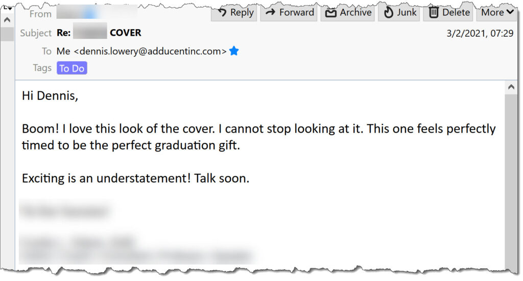 Publishing Services client (university professor) comment on our cover design work and his book's upcoming publication.