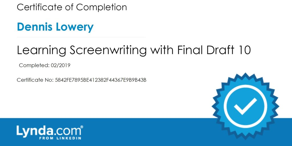 Dennis Lowery Final Draft screenwriting software course completion