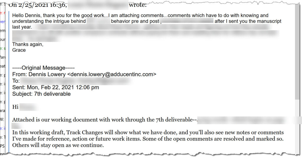 Ghost/Re-Writing Client Work Review Comment