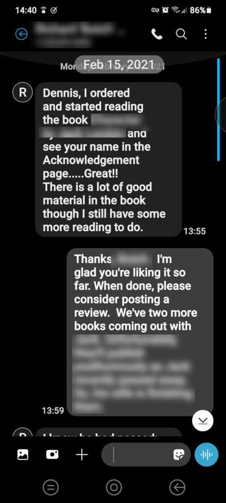 When a client sees your name mentioned in another client's book (10,000+ copies sold to date) and lets you know. Parts redacted because of confidentiality.