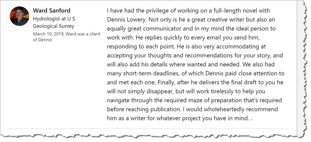 Nonfiction and memoirs are easy compared to writing a complex novel. This comment (above) comes from a client regarding their 158,383-word novel.