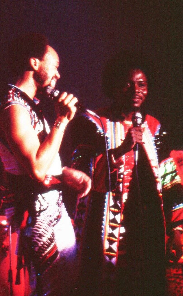 Earth, Wind, and Fire's Maurice White and Philip Bailey performing in 1982 at the Ahoy Rotterdam, The Netherlands